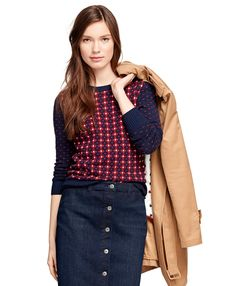 Jacquard Floral SweaterNavy-Red