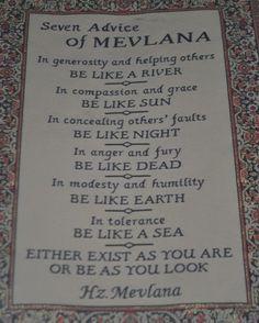 Seven advice of Mevlana Celaleddin-i Rumi