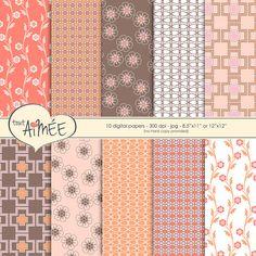 Retro Digital Scrapbook Paper 10 Printable Patterns by ToutAimee $6.39
