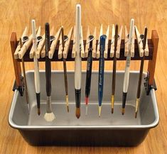 Organizing paint brushes for storage or doing a project