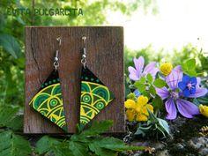 Hand painted leather, light colorful earrings, original design. Evita Pulgarcita