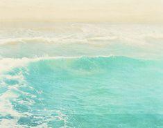 peppermint blue ocean wave photography surge winter by MyanSoffia, $90.00