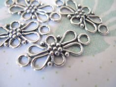 Sterling Silver Connectors Stations Links, Set of 2, 20.5x9.5 mm, Bali Daisy Flower ..organic wholesale.sale.. neckconnst.. nc22... $4.25, via Etsy.