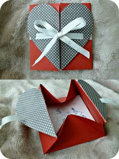 Origami heart envelope More (Diy Photo Art) – Valentine's Day Envelope Diy, Heart Envelope, Diy Gift Box, Diy Box, Diy Gifts, Gift Boxes, Diy Bracelet Gift Box, Diy Paper Box, Origami Letter