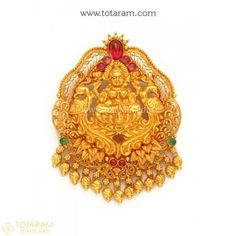 22K Gold 'Lakshmi' Pendant (Temple Jewellery) - 235-GP3200 - Buy this Latest Indian Gold Jewelry Design in 11.350 Grams for a low price of $696.99