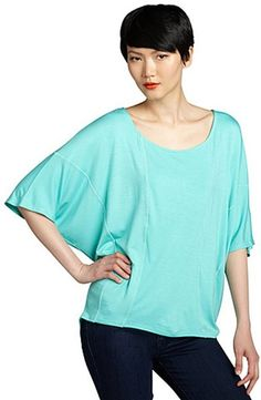 Loveappella seafoam jersey batwing short sleeve scoop neck top