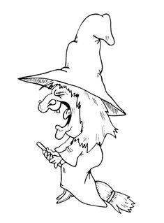 Halloween Flying Witch Coloring Pages Witch Coloring Pages, Preschool Coloring Pages, Halloween Coloring Pages, Coloring Pages To Print, Adult Coloring Pages, Halloween Quilts, Halloween Art, Stencil, Vintage Halloween Images
