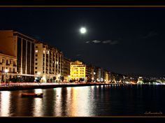 Thessaloniki under the moon Under The Moon, Thessaloniki, Opera House, Explore, Building, Travel, Construction, Trips, Traveling