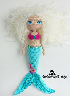 Mermaid crochet pattern is in English. Easy-to-follow photo tutorial, which consists of 37 pages in PDF format with 60 pictures. Photo Tutorial, Toy Diy, #amigurumidoll #crochetmermaid #amigurumitoy #diy #crochetdoll