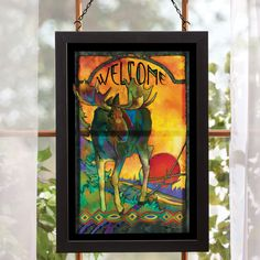 Shop for wildlife prints and western art including black bears, moose, elk and cabins. Our prints are framed with barnwood and are made in the USA. Glass Wall Art, Stained Glass Art, Moose Decor, Black Forest Decor, Cheap Wall Art, Wildlife Decor, Glass Printing, Glass Animals, Window Art