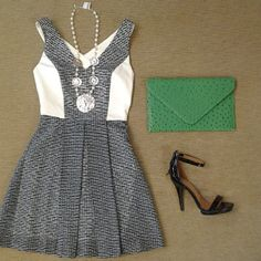 Sachin + Babi Rebecca black and white dress with criss cross back, Jeffrey Campbell Burke sandal in black patent, kelly green clutch, and pearl with coin long necklace