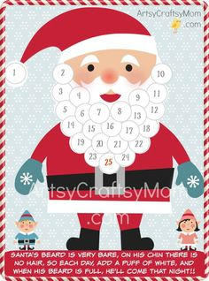 Free Holiday Printable - Santa Advent Calendar and gift tags to help count down the days till Christmas & Gift tags to print & cut.
