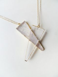 A P P A R I T I O N - natural gold edged crystal quartz triangle fang long necklace