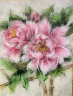 Buy Picture from the wool of Wild peonies on Livemaster online shop Wool Needle Felting, Needle Felting Tutorials, Nuno Felting, Felt Pictures, Flower Pictures, Book Crafts, Felt Crafts, Craft Books, Felt Wall Hanging