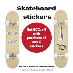 Skateboard Stickers - illustrations by Neal DePinto. Large format perfect for anything really. They're removable and usable and come in many sizes. Available here www.redbubble.com... #stickers #skateboards #skateparks #poolskating