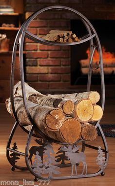 rustic decor -- moose + pine tree log holder