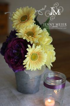 Wedding centerpieces,  hand-tied bouquet with yellow gerbera daisy, deep purple hydrangea,  roses, and crystals. $35.00, via Etsy.