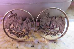 Vintage 90% Silver U.S. Quarter CUT-OUT Coin Eagle Mens Cuff Links Intricate  #Unbranded