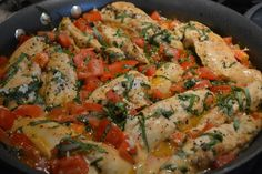Tomato Basil Chicken Recipe Main Dishes with boneless chicken breast, salt, extra-virgin olive oil, chopped tomatoes, garlic, butter, basil, parmesan cheese