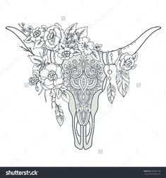 Afbeeldingsresultaat voor cow skull tattoo leaves and flowers
