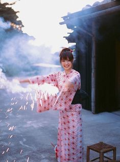 In the summer, the Japanese people enjoy wearing a traditional summer 'Yukata' a light cotton kimono with a simple 'obi' (sash belt). It is naturally cool and airy, great for summer nights enjoying fireworks