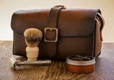 Men's Leather Toiletry Kit Leather Toiletry by BlackthornLeather