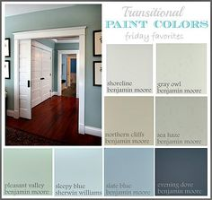 THIS - is my next house' colors! Collection of Great Transitional Paint Colors {Friday Favorites} The Creativity Exchange ~ like the paint layout. good idea to list out paint colors in home Interior Paint Colors, Paint Colors For Home, Paint Colours, Interior Painting, Interior Design, Popular Paint Colors, Style At Home, Room Colors, House Colors