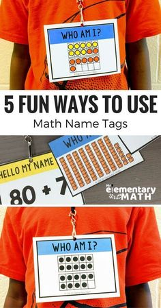 Looking for interactive and fun math activities for kids? Learn all the different ways to use Math Name Tags to teach and review math content like place value, addition, shape attributes and more!