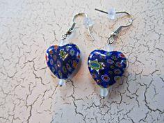 Blue Heart Earrings, Valentine Earrings, Blue Flower Earrings, Valentine Jewelry, Heart Earrings, Heart Jewelry, Valentine Gifts, Earrings by BrownBeaverBeadery on Etsy