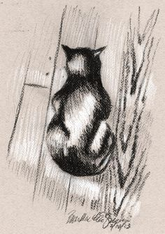 Daily Sketch: Cat on a Wooden Floor Crazy Cat Lady, Crazy Cats, Black Cat Tattoos, Cat Drawing, Drawing Sketches, Cat Whisperer, F2 Savannah Cat, Cat Sketch, Black And White Drawing