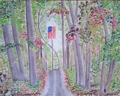 Unexpected Patriot. This is based on a photo I took while driving the dirt roads of rural America. It is my first original painting after the Monet copy, and is now the property of my son, and therefore not available for purchase. 11x14