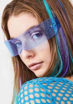 Cyberdog Microchip Visor   Dolls Kill Heart Sunglasses, Round Sunglasses, Giant Vintage, Dungaree Dress, Cyberpunk Fashion, Rave Wear, Festival Fashion, Dolls, Vaporwave