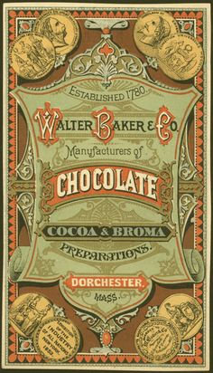 Established 1780 Walter Baker & Co., manufacturers of chocolate, cocoa & broma preparations, Dorchester, Mass Publicado en 1880                                                                                                                                                                                 Más