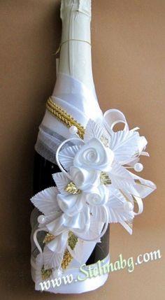 decorated bottle champagne wedding - Recherche Google