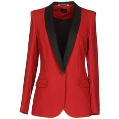 PRINCESS Blazer (£135) ❤ liked on Polyvore featuring outerwear, jackets, blazers, coats, red, single button blazer, single breasted jacket, long sleeve blazer, long sleeve jacket and red blazer jacket