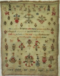 EARLY 19TH CENTURY FIGURE & MOTIF SAMPLER BY MARY FISHER 1820