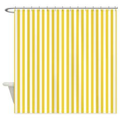 Yellow Candy Stripes Shower Curtain on CafePress.com