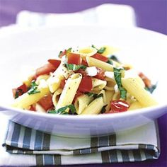 One of my favorite summer meals - Penne Pasta with Basil, Tomatoes, Garlic, and Feta