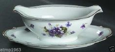 Fine China Of Japan Boutonniere Purple Violets Gold Trim Gravy Boat/Underplate sold