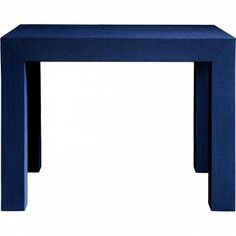 """Bungalow 5 Parsons Side Table Blue, textured lacquered grasscloth finish, MDF, 30""""x20""""x23""""h, $585"""