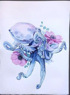 Flower Drawing Octopus in anemones - Octopus in Anemones wall art print. Great for framing and room decor. Octopus Tattoo Sleeve, Octopus Tattoo Design, Octopus Tattoos, Sea Tattoo Sleeve, Turtle Tattoos, Tribal Tattoos, Sleeve Tattoos, Octopus Painting, Octopus Artwork