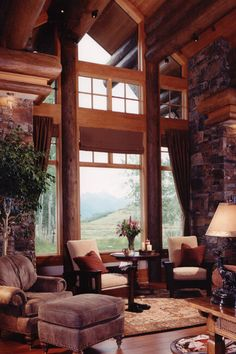 Reading area in the great room! #mountains #mountainhomes #mountaineering