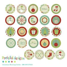 Christmas Clip Art - 5 Inch Circles - Stickers, Tags, Paper Crafts, Magnets - Christmas Morning (129)