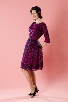 Vintage 1960s Dress Chiffon Floral Mad Men by unionmadebride, $89.00
