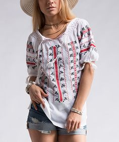 Fashionomics Off-White Embroidered Scoop Neck Top | zulily