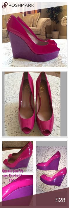 Vince Camuto platform wedges Adorable hot pink with purple platform wedges.  Only used 2 times.  The left shoe has a small scuff.  The wedge is 5.5 inches high . Vince Camuto Shoes Wedges