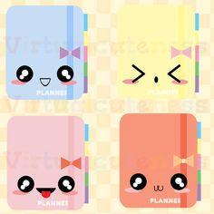 Cute Planner Clipart 2  Printable Stickers por Virtualcuteness