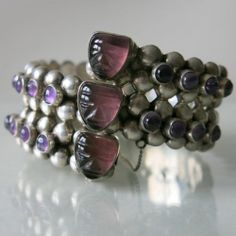 Taxco silver and amethyst cuff