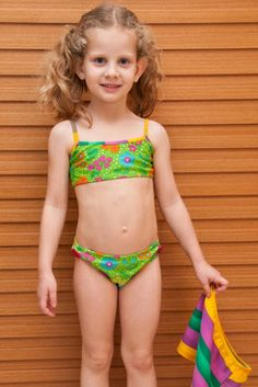 Melody Girl/Toddler Bikini - Lemons & Limes Kids Swimwear #girlsbikini #toddlerbikini #girlsswimsuit #buttononskirt #girlsskirt #flowers #stripes #limegreen