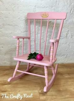 Every little princess deserves her own special throne - or rocking chair. Blush pink and gold child's rocking chair complete with gold crown (one front and one back) painted in Autentico Chalk Paint colour Blush - a pure and natural paint EU certified safe for children's toys and furniture. 25% of the sale of this lovely piece will be donated to Cancer Research UK.